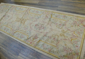 3.3'X 9.8' Vintage Aubusson French Hand-woven Wool Runner Rug Floral Light Gold