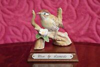 The Leonardo Collection Porcelain Wren Figurine on wooden stand