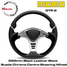 MOMO GTR-2 - 350mm Black leather Black Suede Grip Chrome Centre Steering Wheel