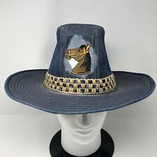 Vtg THE RUSTLER Horse Blue Jean Denim Cowboy Hat Twine Weave Band Saddle Sz 7