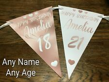 PERSONALISED BIRTHDAY ROSE GOLD BUNTING BANNER PARTY DECORATION 18th 21st 30th