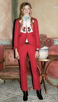 GUCCI Ruffled Wool & Silk-blend Red Jacket & Pants Suit NEW WITH TAGS