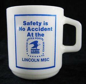 Vtg United States Postal Service USPS Lincoln MSC Galaxy Milk Glass Coffee Mug