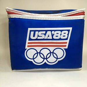 Vintage Olympics USA 1988 Cooler Ice Chest 6 Pack Insulated Lunch Box Seoul
