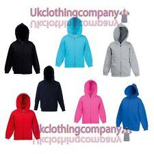 Unisex Fruit of the Loom Kids Zipped Hooded Sweatshirt - Childrens hoodie 5-13