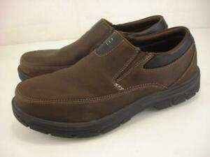 Skechers Men's sz 11 EW Wide Segment The Search Loafer Dark Brown Leather Shoes