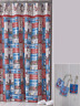 """New NAUTICAL Boats LIGHTHOUSES 70"""" x 72"""" Fabric Shower Curtain Set + Liner Hooks"""