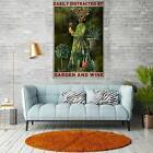Vintage Easily Distracted By Garden And Wine Colorful Wall Decor Poster no frame