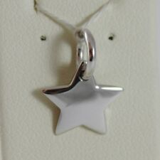 18K WHITE GOLD ENGRAVABLE STAR CHARM PENDANT 11 MM FLAT SMOOTH MADE IN ITALY