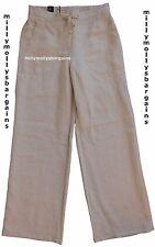 New Marks & Spencer Beige Wide Leg Linen Trousers Size 8 Short LABEL FAULT