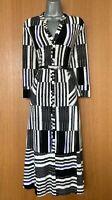 Phase Eight UK 10 White Black Opal Stripe Print 3/4 Sleeve Shirt Midi Dress EU38
