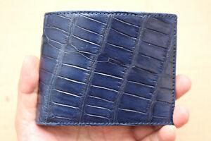 Double Side Blue Genuine Crocodile Alligator Skin Leather - Men's Bifold Wallet