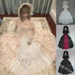 Gothic Palace Sweet Lolita Dress Retro Lace Bowknot Kawaii Medieval Cosplay