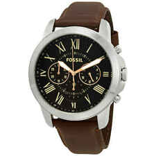Fossil Grant Chronograph Black Dial Brown Leather Men's Watch FS4813IE
