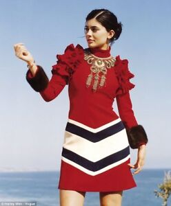 $6980 Gucci Embroidered Necklace Chevron Web Hibiscus Red Crepe Dress Mink Cuffs