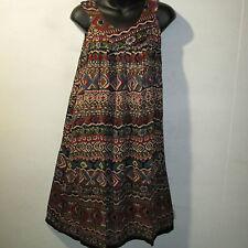 Dress Fits L XL 1X 2X 3X Plus Sundress Blue Red India Print A Shaped NWT 123 AA