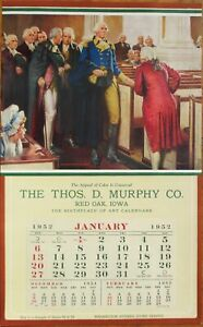Patriotic 1952 Advertising Calendar / 10x17 Poster: George Washington in Church
