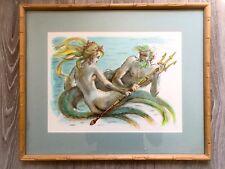 Peinture aquarelle Mythologie Dieux Grec Tableau Poseidon Sirène Mer