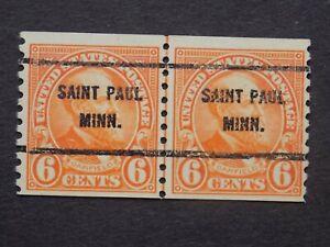 (1) use U S. Coil Line pair precancel stamp-6 c GARFIELD w/a ST. PAUL, MN P/C