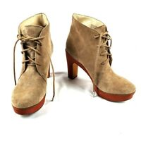 Michael Kors Beige Suede And Leather Ankle Boots Womens Lace Up Size 8.5M