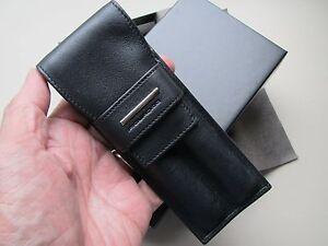 Piquadro black nappa leather two-pen case-pouch AC606MO/N