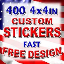 400 4x4 Custom Printed Full Color Outdoor Vinyl Bumper Sticker Logo Decal Label