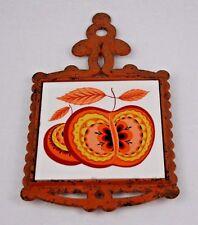 Vintage Burnt Orange Cast Iron Trivet with Glaze Tile with Apple Artwork