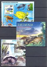 ANGOLA MOCAMBIQUE  3 x BLOCK .  ** MNH  VF  -TURTLE TORTUE TORTOISE-  @112