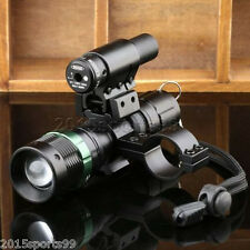 Tactical Cree LED Zoomable Flashlight + Red Laser Sight + Scope Barrel Mount