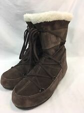 Tecnica Moon Boots Fashion Winter Brown Suede Womens Size 6.5 Pull-On Laces EUC