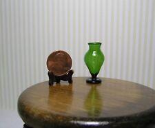 "Miniature Dollhouse Green Glass Pedestal Vase 1 1/18"" H"