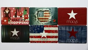 6 Macy`s Department Store Jeans USA Flag Star Empty Gift Cards Collectible Lot