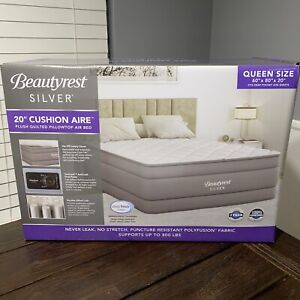 """Beautyrest Silver Quilted 20"""" Cushion Aire Queen Size Air Bed Mattress BRAND NEW"""