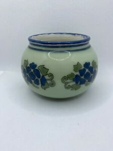Antique 1904 Reverse Painted Green And Blue Floral Signed MFL Glass Planter
