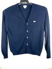 Lacoste/Izod mens vintage long sleeve cardigan sweater blue size M