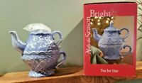 Make The Season Bright Tea For One Stacking Teapot and Cup Set Blue White