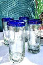 (Set of 4) Mexican Hand Blown Cobalt Blue Tequila Shot Glasses Artisan