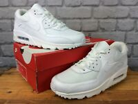 NIKE MENS AIR MAX 90 WHITE LEATHER MESH TRAINERS RRP £115 VARIOUS SIZES T
