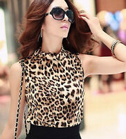 WOW Leopard Animal Print Round Neck Top Size 8 10 12 Sexy Tops Classy Clothing