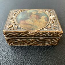 19th C. Antique Florentine Craft Box w/ Decoupage & Painted Gold Gilding Italy