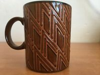 Gibson Mug Embossed Coffee Cup Triangle Pattern Brown Everyday Mugs Rare