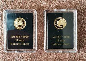 2 Stk. 585er Goldmünzen in Blister !