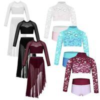 Girls Kids Dance Leotard Two Pieces Dancewear Gymnastics Lyrical Dance Costume