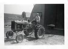 Small 1950s? Vintage Snapshot Boy Driving Allis-Chalmers Tractor, Chicken Coop