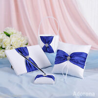 White Royal Blue Guest Book & Pen Ring Pillow Basket Wedding Ceremony  GB26-bcd
