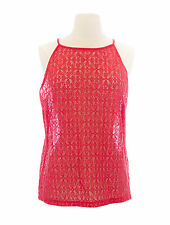 TOPSHOP Women's Coral Red Sheer Fishnet High Neck Sleeveless Top 04K04A Sz 6 NWT