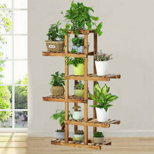 6 Tier Strong Flower Plant Pot Shelf Stand Display Garden Rack Step Style Wooden