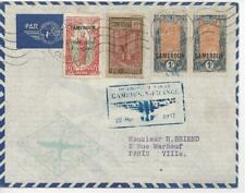 French Cameroun 1937 First Flight Cover Senegal to France - w/4 Stamps Douala