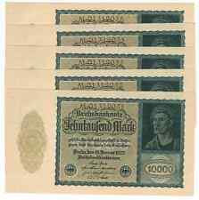 GERMANY REICHSBANKNOTE 10000 MARK 1922 UNC CONSECUTIVE NUMBERS/sold as each