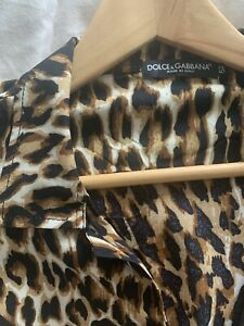 Dolce & Gabbana Men's S/S Leopard Print Shirt
